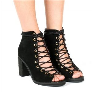Jeffrey Campbell Cors Lace Up Peep Toe Booties 7.5